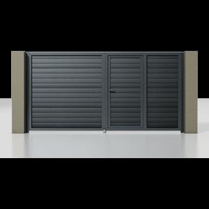 Распашные ворота с калиткой серии Alutech Prestige 3500×2000мм